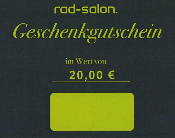 Radsalon Saarbrücken - Geschenkgutschein 20 Euro